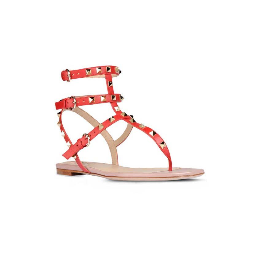 19b16e1f8208 Valentino Rockstud Ankle-Wrap Red Leather Flat Sandals