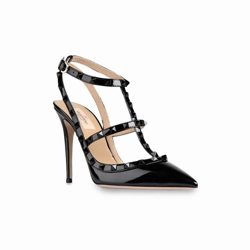 dd0cc3d776 Valentino Rockstud 100mm All Black Patent Leather T-Strap Sandal Pumps, Valentino  Shoes, Valentino Shoes Men