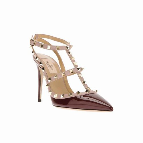 496cdbf817c Valentino Rockstud 100mm Ruby Red Patent Leather T-Strap Slingbacks ...