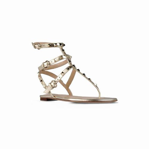 81dcf26db8ae Valentino Rockstud Ankle-Wrap Gold Metallic Leather Flat Sandals ...