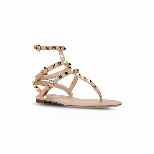 01851abc0470 Valentino Rockstud Ankle-Wrap Nude Leather Flat Sandals